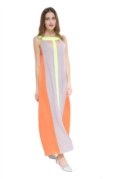 2019 Fashion Chiffon Bright Colorblock Casual Dress Sleeveless Beach Dress Loose Cheap Women Summer Bohemian Long Dress Wholesale