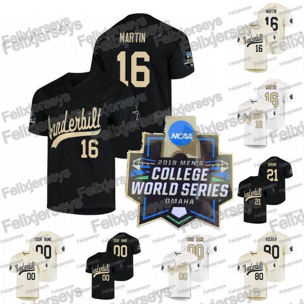 2019 NCAA Beyzbol Koleji Dünya Serisi Vanderbilt Commodores Austin Martin Tyler Kahverengi Kumar Rocker Julian Infante Ethan Paul Jersey