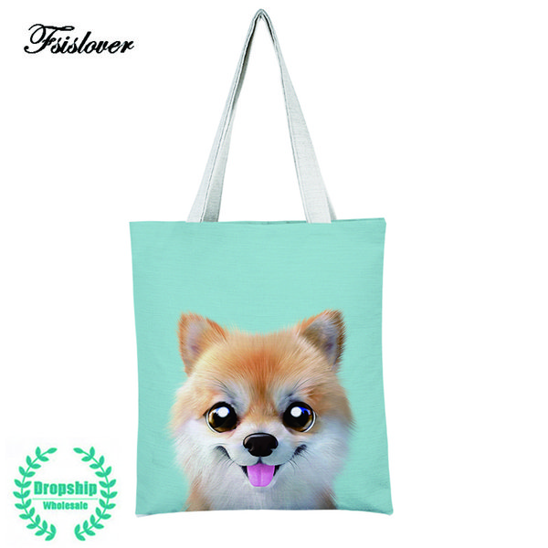 2019 Fashion FSISLOVER Cute Dog Printed Canvas Tote Handbag Women Foldable Shoulder Bag Female Summer Beach Bag Shoulder Bag Tote Feminina