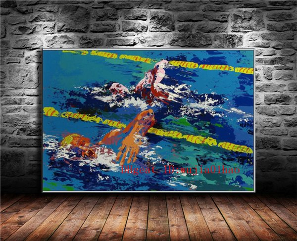 Swimming Competition , Canvas Painting Living Room Home Decor Modern Mural Art Oil Painting