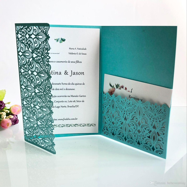 Laser Cut Wedding Invitations With RSVP Cards T-Blue Customized Flowers Folded Wedding Invitation Cards With Envelopes BW-HK153