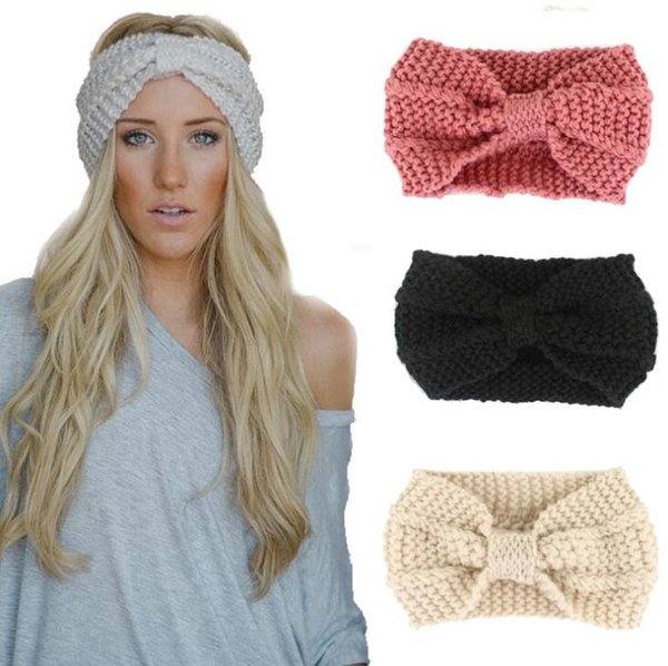23color Lady Cozy Thick Knit Headband Turban Ear Warmer For Women Winter Headbands Bow knot Stretch Hairband Headwrap crochet twisted turban