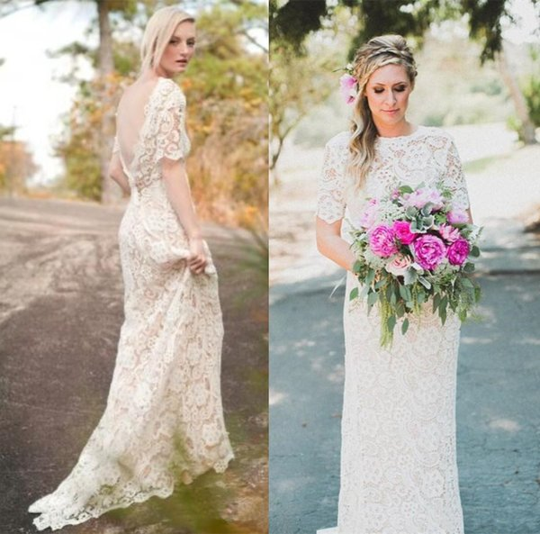 Sexy V Backless 2019 Full Lace Sheath Wedding Dresses with Short Sleeves Jewel Neck Boho Wedding Gowns for Bride