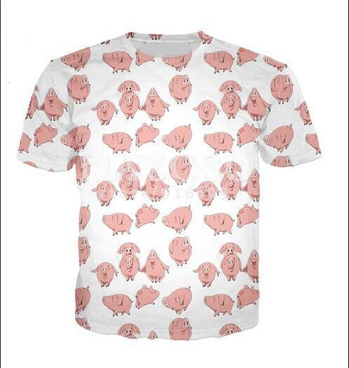 Estilo verão Homens / mulheres T-shirt de Manga Curta Os Sete Pecados Mortais Porco 3D Impressão Digital de T-shirt para T Camisas Soltas Casuais Tees Tops
