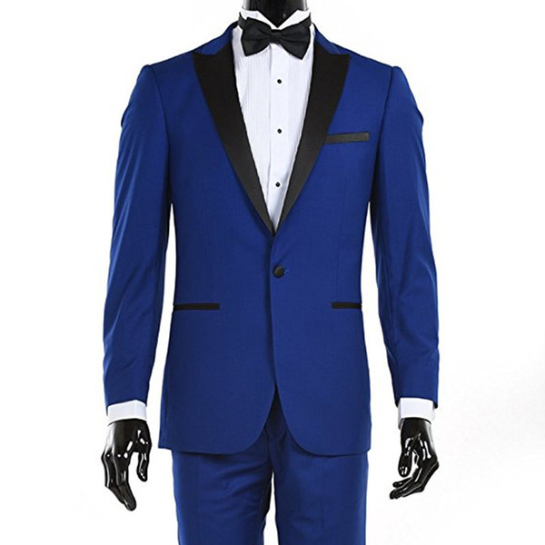 Custom Made Hot Sale Royal Blue Suits Black Lapel Men Suits Smil Fit Weding Tuxedos 2 Piece Groom Suits (Jacket+Pants) L627