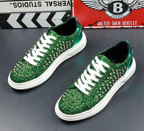 Hot Sale Men Summer Rivets Glitter sneakers Punk style Lace-Up Flat luxury Celebrities Men Prom Party Wedding Christmas Dress Shoes