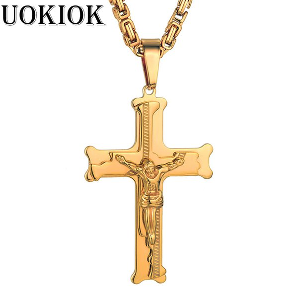 Christian Crucifix Christ Cross Jesus Pendant Necklace Gold Color Stainless Steel Link Byzantine Chain Heavy Men Jewelry Gift
