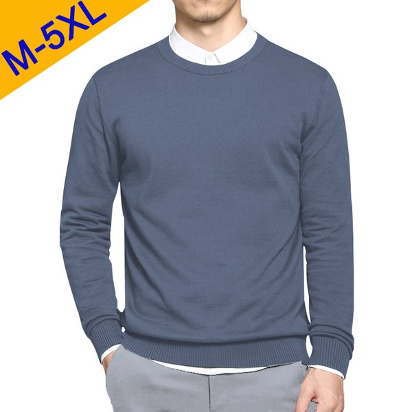 5XL Men Sweaters Pullover 2019 Spring New Cotton O-Neck Solid Sweater Jumpers Autumn Male Knitwear Man Big Plus Size Simple Type