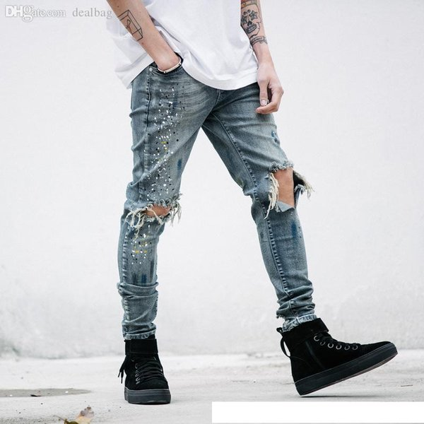 Wholesale-mens Strech ripped biker jeans skinny Distressed kanye west designer distrressed brand hip hop streetwear swag pants