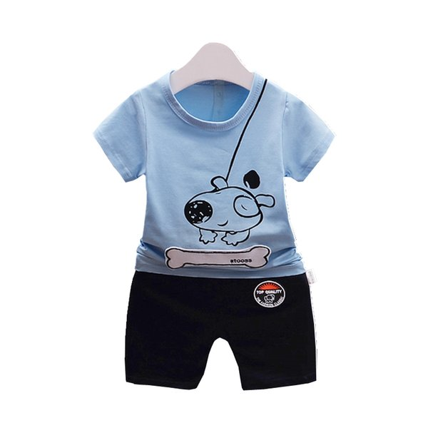 2019 Summer New Pattern Children Boys Girls Cotton Suit Baby Bone Dog Cartoon T-shirt Short Pants 2Pcs/Sets Toddler Tracksuits