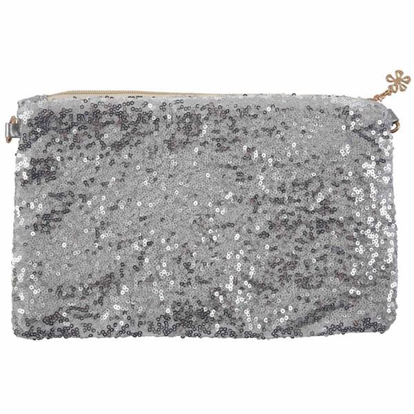 Glitter Bling Sparkling Sequins Clutch Handbag Purse Evening Party Shoulder Bag, Silver