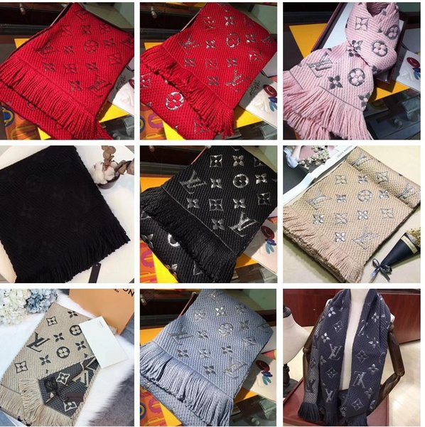 Brand Winter LOGOMANIA SHINE Scarf High Quality Wool Silk Scarf Women and Men Two Side Black Red Silk Wool Long Scarfs Flower Scarves Shawls