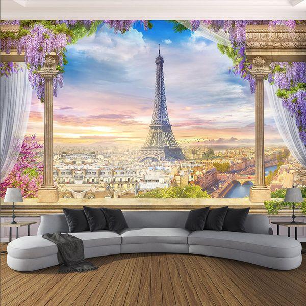 Özel Herhangi Boyutu Fotoğraf Kağıdı 3D Stereo Roma Sütun Paris Kulesi Resimleri Restoran Oturma Odası Yatak Odası Zemin Duvar D ...