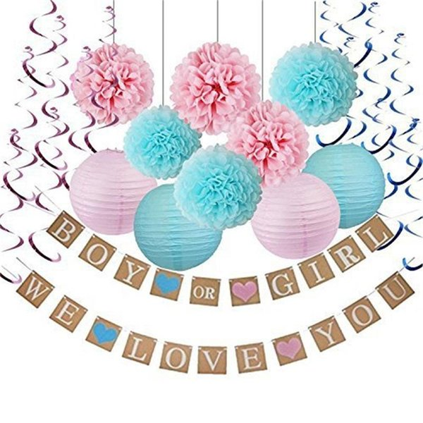 Christmas Gender Reveal Theme.Gender Reveal Party Decoration Four Paper Lanterns Six Balls Ten Spiral Ornaments Boy Or Girl We Love You Flag 33yme Childrens Party Themes Christmas