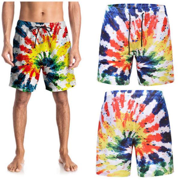 Hombres colorida de la playa Traje de baño Verano 2018 Nueva Junta pintada Impreso hombre multicolor Surf Bañador 3D pone en cortocircuito ropa de playa