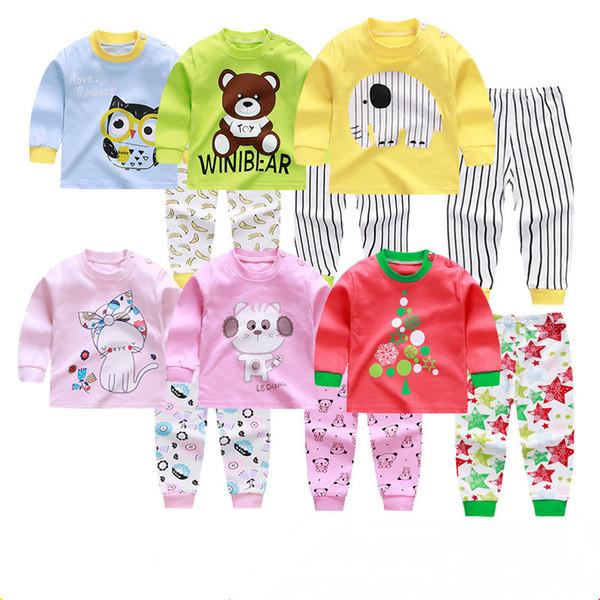 Conjunto de ropa interior de algodón para bebés, niños Pijamas para niños Ropa de dormir para niños uso en el hogar, tipos coloridos Ropa Trajes Ropa de dormir LJJQ263