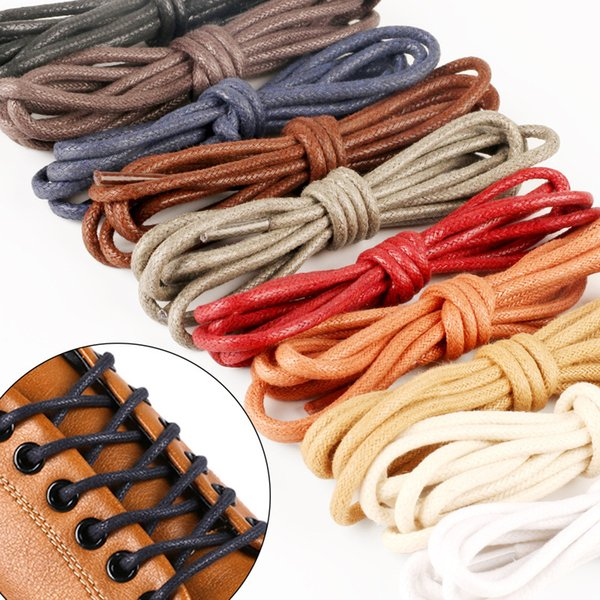 12 pairs Fashion Casual Leather Shoelaces High Quality Waxed Round Shoe Laces Boots Sport Shoes Cord Ropes