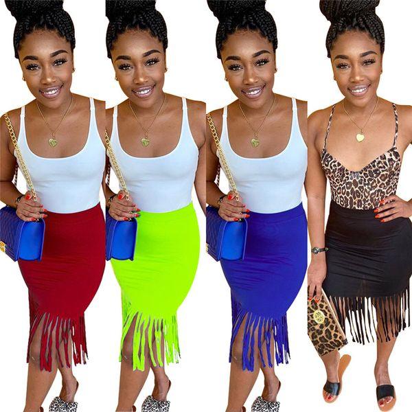 Женщины дизайнер ночной клуб юбки длиной до колен кисточкой юбка сексуальные платья мода плюс размер одежда лето горячая продажа DHL 1210