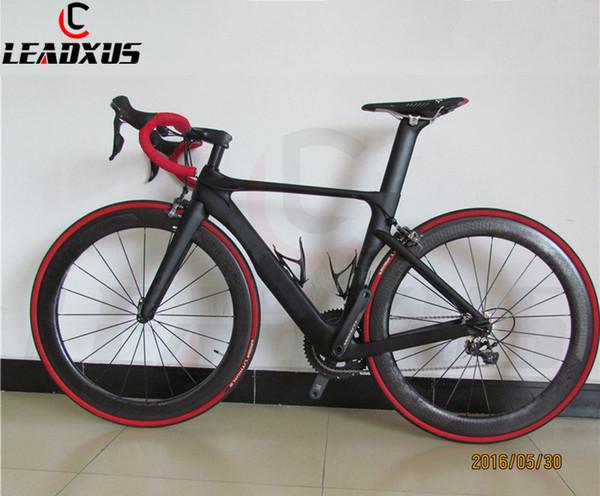 LURHACHI Carbon Fiber Complete Bike Carbon Road Bike Bicycle Frame+Dimple Carbon Wheels+Carbon Handlebar/Saddle+R8000 Groupset
