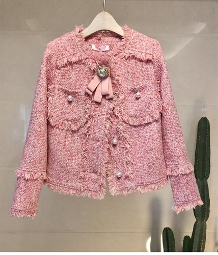 Marke Runway-Jacken-Mantel-Frauen Herbst-Winter-Tweed Mäntel Wolljacken Büro-Damen Modeschmuck Diamanten Quasten Oberbekleidung
