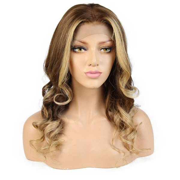 Highlights #6/#27 Lace Front Human Hair Wigs With Baby Hair Pre Plucked Hairline Wave Full Lace Remy Brazilian Hair Wigs