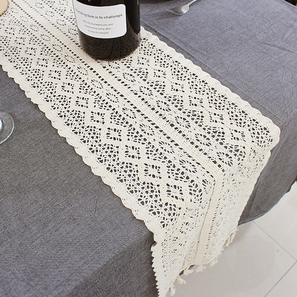 top popular Beige Crochet Lace Table Runner with Tassel Cotton Wedding Decor Hollow Tablecloth Nordic Romance Table Cover Coffee Bed Runners DBC BH3322 2021