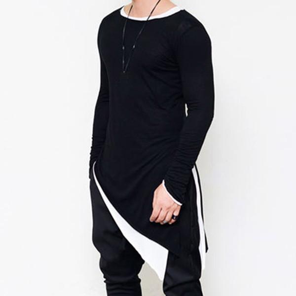 Men's Long Sleeve Tee Shirt Homme Side Sharp Swag Hem Tshirt Men Streetwear Fashion Asymmetrical Men Side Extended T Shirt Cloth