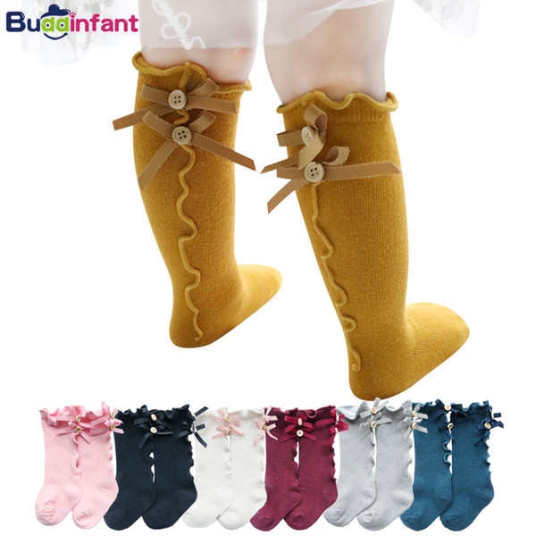 cotton knee socks for girls infant baby long socks with bows ruffle toddler girl knee high sock children soft dress sock 0-8Year