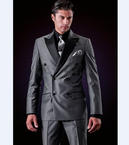 Hübsche Zweireiher Groomsmen Peak Revers Bräutigam Smoking Männer Anzüge Hochzeit / Abschlussball / Abendessen Best Man Blazer (Jacke + Hose + Krawatte) AA194