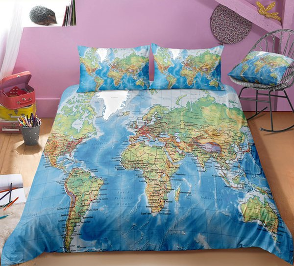 Ensembles de literie de couleur verte Dropship de couleur verte World Map Twin Full Queen King 3D housse de couette avec taie d'oreiller