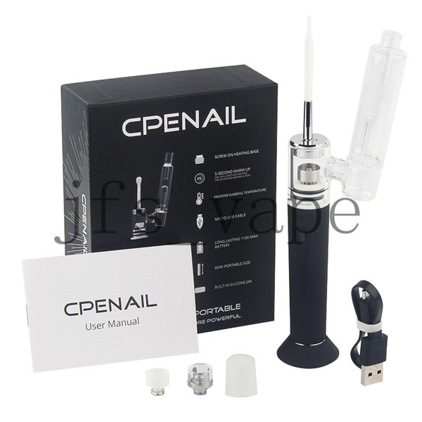 Горячая распродажа CPENAIL 1100 мАч Портативная восковая ручка Dab Rig Nail Pot Керамический кварцевый электрический H GR2 чистая Ti ecigarette Испаритель Vapor Glass комплекты бонги