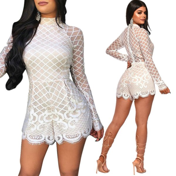 Sexy Lace Hollow Jumpusuit for Women Hot Sale Long Sleeve Short Jumpsuit Fashion Casual Party Nightclub Jumpsuits