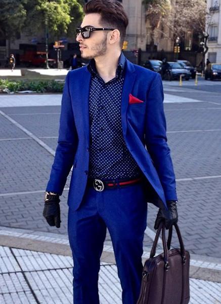 2 Pieces Terno Masculino (Jacket+Pants) Royal Blue Blazer Men Suits Slim Fit Business Suits Tailored Tuxedo Groomsman Wedding Suits