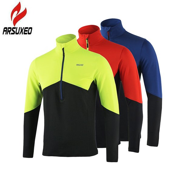 ARSUXEO Running T-shirt Men Active Long Sleeves Quick Dry Training Jersey Sports Clothing Sports Tshirt For Men Running Jersey