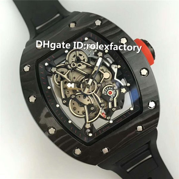 Hot Sale Luxury 055 Skeleton Dial Japan Automatic Mens Watch Black NTPT Carbon Fibers Case Sapphire Red crown Black Rubber Strap Watch