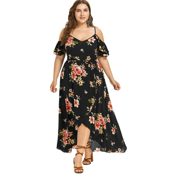 Gamiss Women Summer Plus Size 5XL Cold Shoulder Floral Overlap Dress Spaghetti Strap Half Sleeves Floral Print Beach Dress Robe Y190117