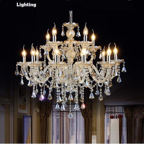 Envío gratis Crystal Chandelier Living Room K9 Crystal Chandelier Clear luces colgantes accesorio de boda decoración colgante de la lámpara