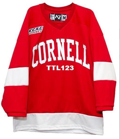 Gerçek Erkekler gerçek Tam nakış Cornell Büyük Kırmızı Hokeyi Jersey% 100% Nakış Forması veya özel herhangi bir isim veya numara Jersey