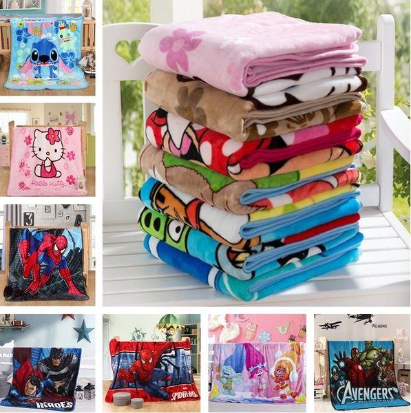 top popular Hot Kids Blankets Flannel spider-man Trolls Warm cartoon Blankets Smooth Flannel Blankets Baby Beddings Swaddling Blanket 100*140cm 2019