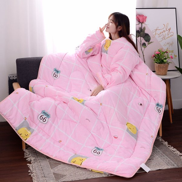 winter Comforters autumn Lazy Quilt with Sleeves family Blanket Cape Cloak Nap Blanket Dormitory Mantle Covered #XTN