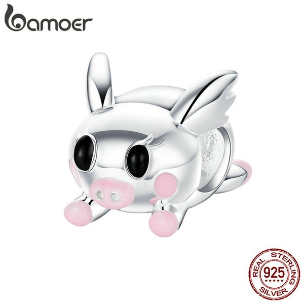 Flying Piggy Pig Animal 925 Sterling Silver Beads Fit Women Charms Bracelets DIY Jewelry Making Anniversary Engagement Wedding Gift