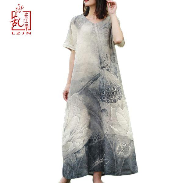 LZJN 2019 New Summer Women Retro Black Grey Lotus Print Short Sleeve Cotton Linen Dress Loose Casual Ankle Length Dress Vestidos