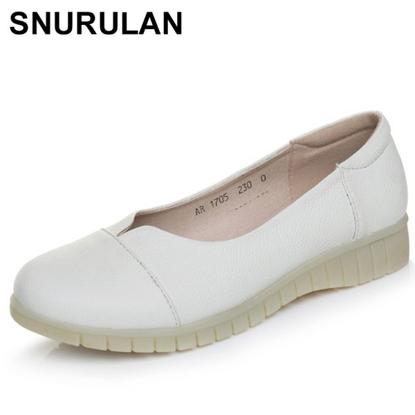 Designer Dress Shoes SNURULANAutumn new fashion slip on women mid heels leather Work Mother Soft Comfortable Pregnant Women E216