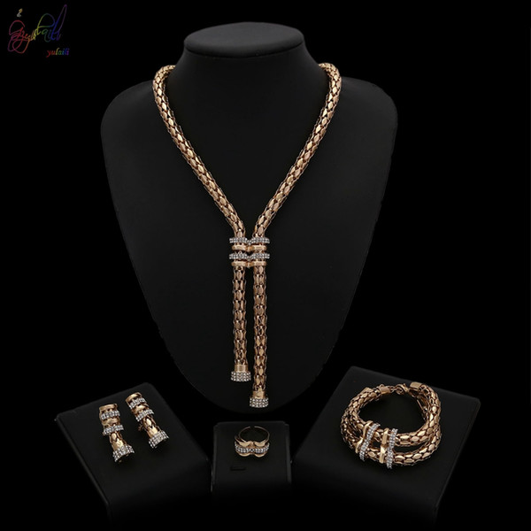 Yulaili Trendy Classic Design Gold-color African Crystal Long Necklace Bracelet Pendant Earrings Nigerian Wedding Jewelry Sets for Women