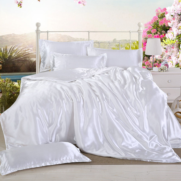 Solid Bedlinen Silk Satin Duvet Cover Black White Bedding Sets 3/4pcs Twin Queen King Size Pure Color Bed Sheet Pillowcase39
