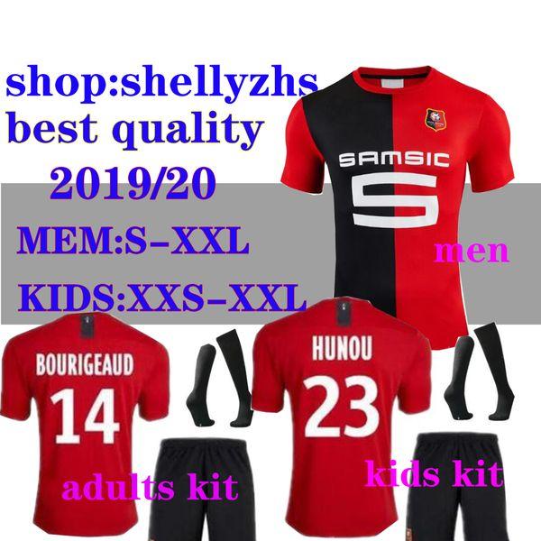 Stade Rennais 19 20 Casa camisas de futebol 2019 2020 Rennes maillot de pé Adulto e crianças # 7 Sarr # 11 Niang # 14 BOURIGEAUD camisa de futebol