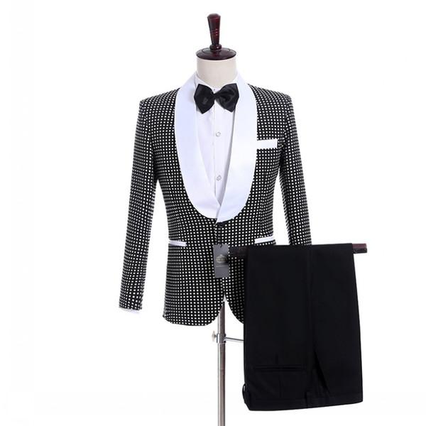 Handsome Groomsmen Shawl Lapel Groom Tuxedos Black With White Dot Men Suits Wedding/Prom Best Man Blazer/Bridegroom (Jacket+Pants+Tie) M981