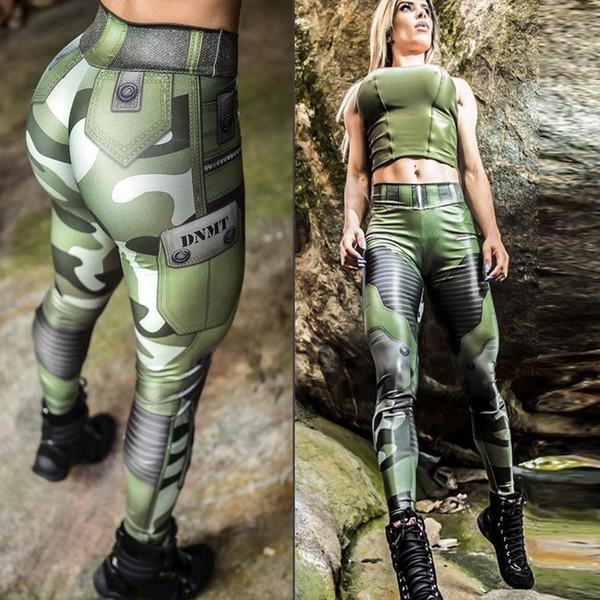 Punk S Mujeres Camuflaje Verde Del Ejército Leggings Elásticos Pantalones Pantalones Graffiti Slim Para Mujeres Regalos Al Por Mayor
