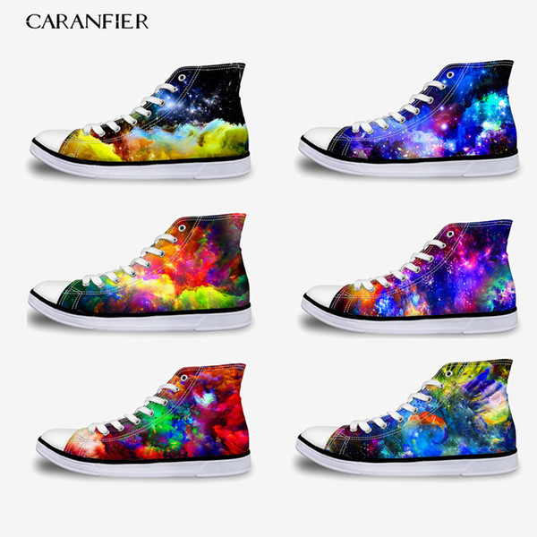 CARANFIER Girls Canvas Shoes Flat Casual Classic Shoes Printing Multicolor Summer Breathable Large Size High To Help