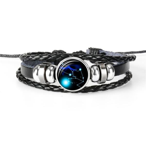 Cuerda de cuero real genuino con cuentas pulsera brazaletes para mujeres hombres 12 Horóscopo del zodiaco Tauro Tiempo Joya de cristal Cabochon Tamaño ajustable